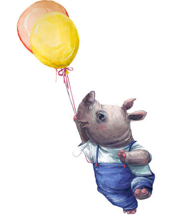 cute cartoon little rhino with balloon