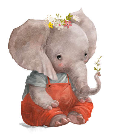 cute elephant with little flower on his trunk