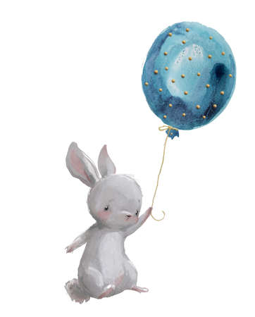 cute watercolor hare fly with balloon