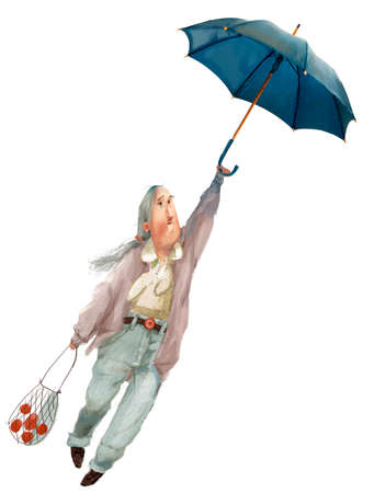 cartoon old woman character fly with umbrella Reklamní fotografie