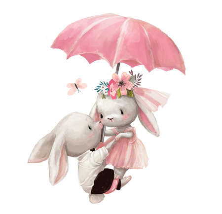 cute wedding couple of hares fly with umbrella