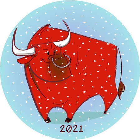 cute cartoon bull on blue background