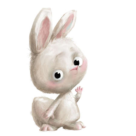 cute little cartoon white cartoon hare
