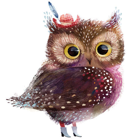 cute owl with red hat
