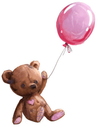 cute cartoon teddy bear with pink balloon Reklamní fotografie