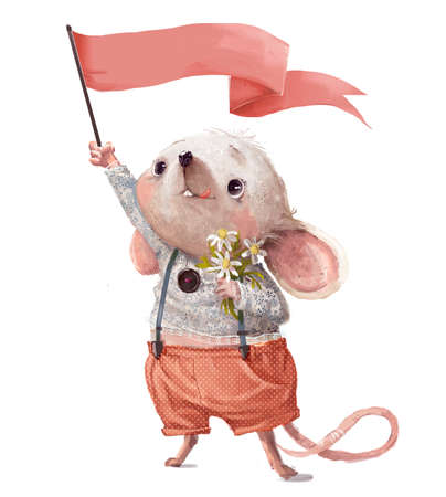 Little cartoon mouse with pink flag ang floral bouqet