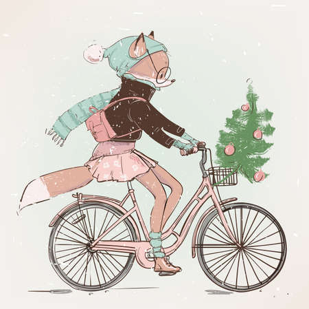 cute girl fox character on the bike with christmas tree