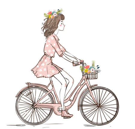 cute girl character on the bike with floral wreath