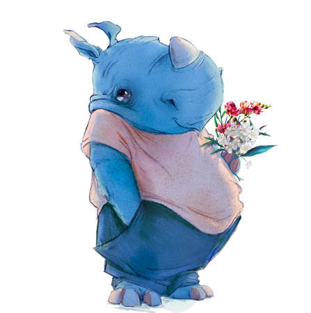 cute cartoon blue rhinoceros with floral bouquet Reklamní fotografie
