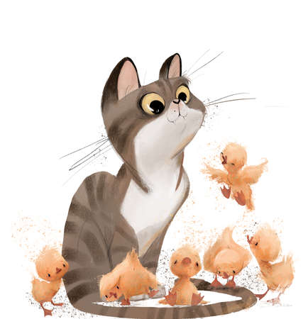 cute cartoon cat with yellow cute ducklings