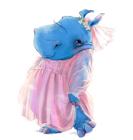 cute cartoon blue hippopotamus with brides dress