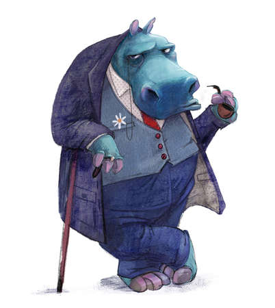 cartoon hippo with a suit smoking a pipe