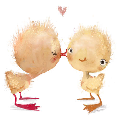 cute cartoon lovely yellow ducklings kissing
