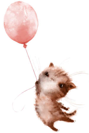 cute little cartoon kitten fly with balloon