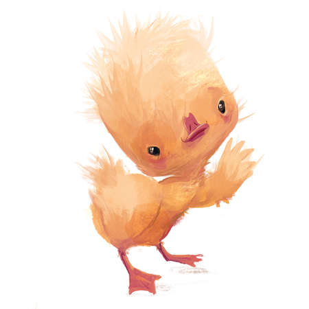 cute funny little yellow duckling character