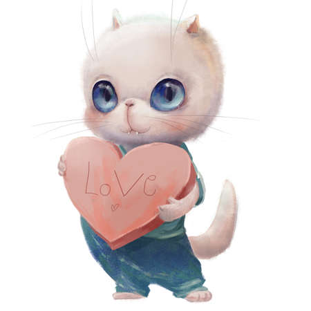 cute white cat with heart - valentine card