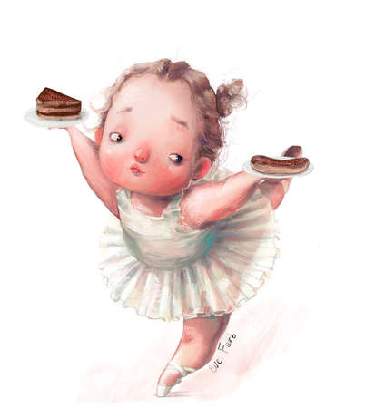 cartoon little girl ballerina dansing with cakes
