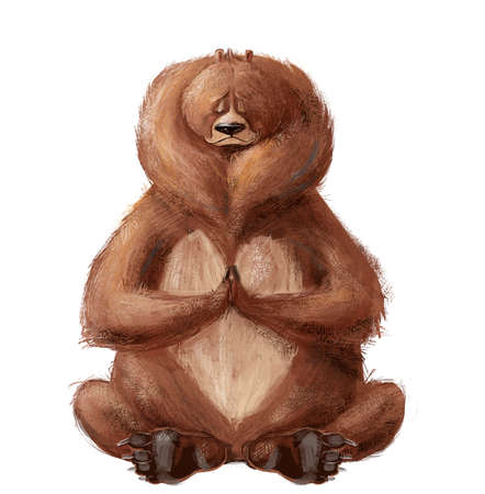 cute cartoon bear sitting in yoga pose