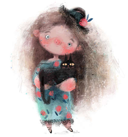cute little girl withhat and black cat