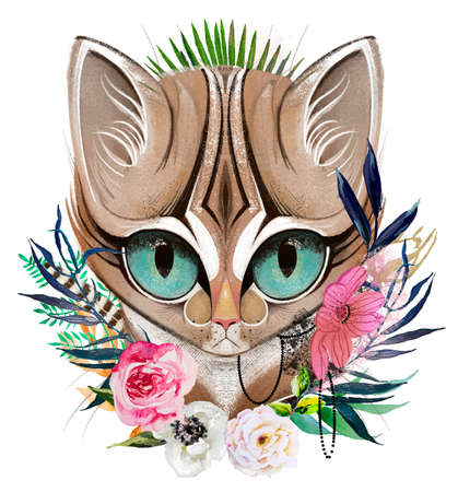 cats head portrait with flowers and leaves