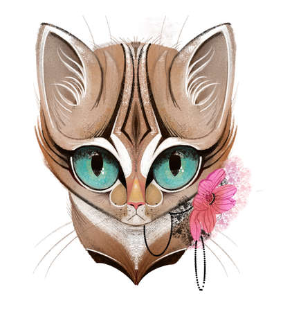 cats head portrait with flowers and jewellery
