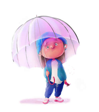 cute lovely child with hat and umbrella