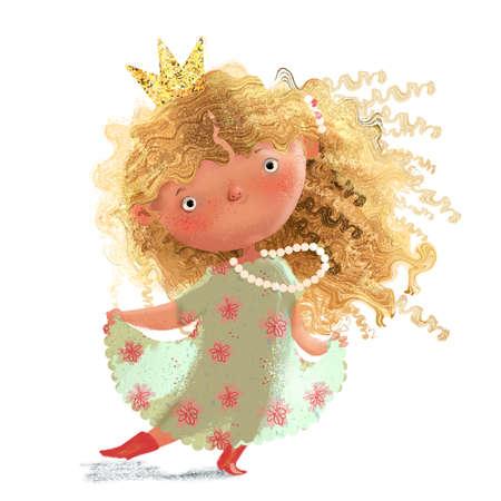 cute lovely little blonde princess in summer dress Foto de archivo