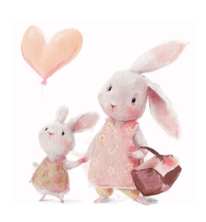 cute watercolor hares - mom and daughter with balloon