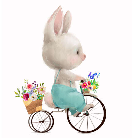 cute little hare with flowers on bicycle