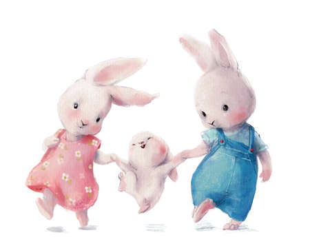 cute watercolor hares family - mom dad and baby