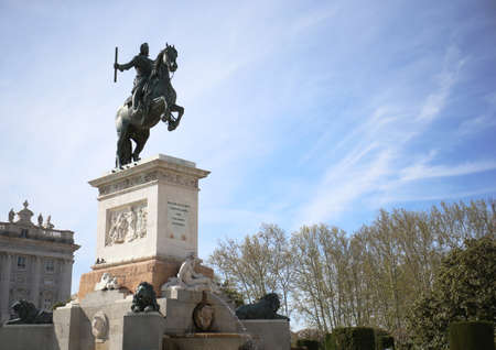 Statue of Royal Palace in Madrid, Spain  photo