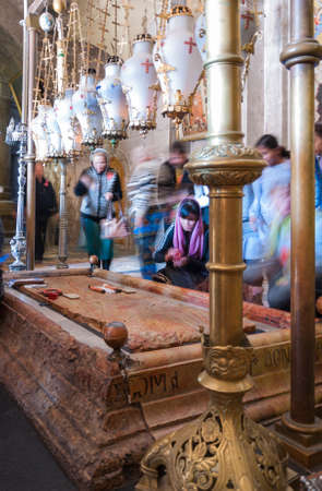 The Stone of the Anointing  The Stone of Unction  in Church of the Resurrection, Old City of Jerusalem, Israel