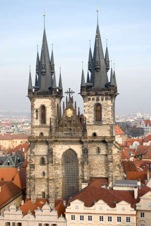 old town square: Famous Tyn Cathedral on Old Town square in Prague