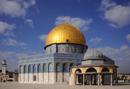 jewish group: Dome of the Rock, Jerusalem - Israel Stock Photo