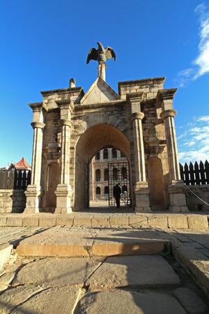 archways: Antananarivo, Madagascar: Queens Palace - Rova - Ankadinandriana - with the 19th century bronze eagle above the entrance. A gift from Napoleon III.