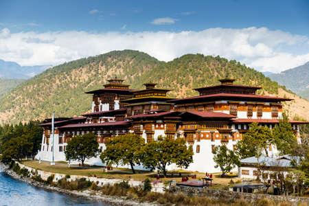 View of the Dzong in Punakha (Bhutan) Archivio Fotografico