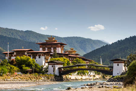 View of the Dzong in Punakha (Bhutan) Stock Photo