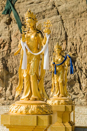 Gold statutes near Big Buddha point in Thimphu (Bhutan) Stock Photo