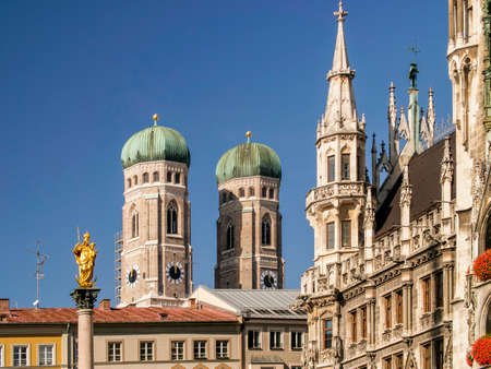 Marienkirche and Townhall Square in Munich, Germany