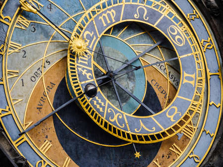 Detail of the Astronomical Clock in Prague, Czechia