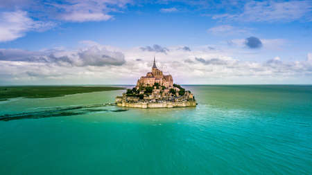 Beautiful panoramic view of famous Le Mont Saint-Michel tidal island