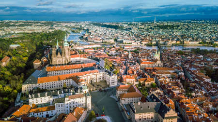 Aerial view of Prague City from Petrin Hill side Reklamní fotografie