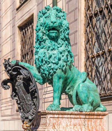 residenz: Bronze lion statue at Alte Residenz palace in Munich, Germany