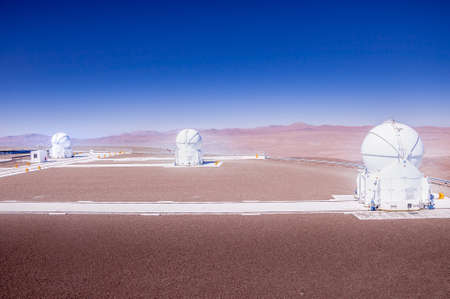 CERRO PARANAL, ATACAMA DESERT, CHILE - JAN. 15, 2010: The VLT, Very Large Telescope complex at the European Southern Observatory located on Cerro Paranal in the middle of the Atacama desert.