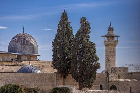 エルサレムのアル・アクサ・モスク、イスラム教で3番目に神聖な場所。 写真素材