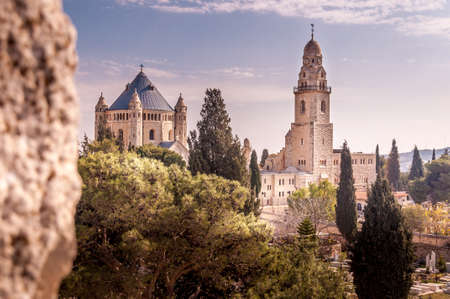 Abbey of the dormition (Hagia Maria sion) is benedictine community abbey in jerusalem, Israel Stock Photo
