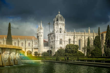 The Hieronymites Monastery (Mosteiro dos Jeronimos), located in the Belem district of Lisbon, Portugal Stock Photo