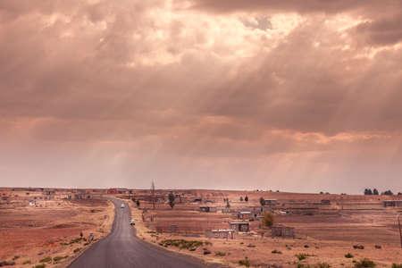 Long straight tar road in Lesotho