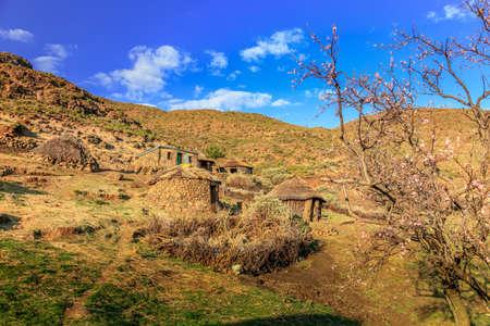 Tradtional hut village in rural Lesotho