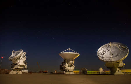 Three satellite dishes beeing tested at ALMAs base station